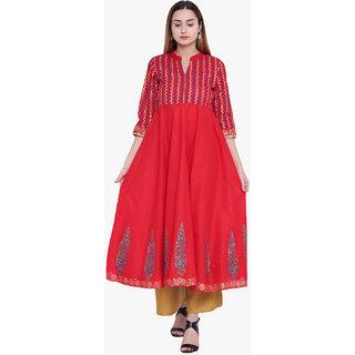 Varkha Fashion Women's Red Checks Long Anarkali Stitched Kurti