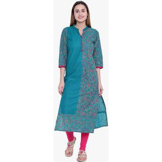 Varkha Fashion Women's Green Floral Long Straight Stitched Kurti