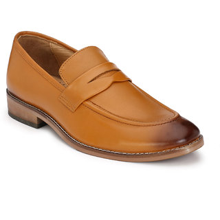 Hirels Tan Slip On Mocassions Original Leather Formal Shoes
