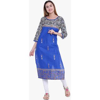 Varkha Fashion Women's Blue Block Print Long Straight Stitched Kurti