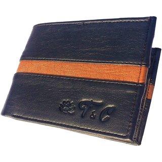 Friends Company Men Wallet Bifold Black genuine Leatherlite Top purse wallet-StyleCodeFC06