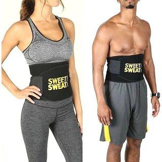 Unisex Sweat Waist Trimmer Fat Burner Belly Tummy Yoga Wrap Black Exercise Body Slim look Belt Free Size SWEAT BELT) CODE-SWEATHZ369