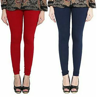 Alishah Cotton Lycra Premium Leggings For Women And Girl Blood Red Navy Blue