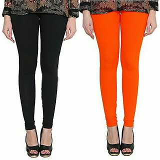 Alishah Cotton Lycra Premium Leggings For Women And Girl Black Dark Orange