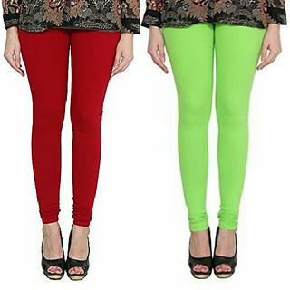Alishah Cotton Lycra Premium Leggings For Women And Girl Blood Red Parrot Green