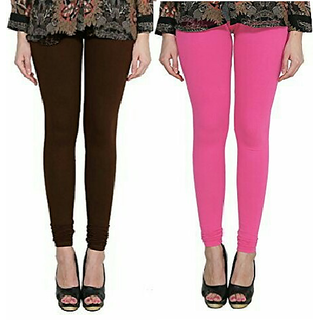 Alishah Cotton Lycra Premium Leggings For Women And Girl Brown Hot Pink