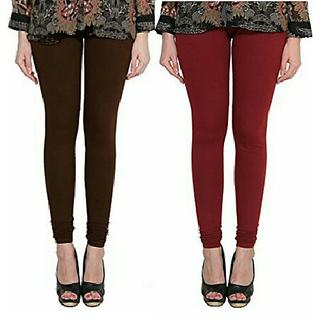 Alishah Cotton Lycra Premium Leggings For Women And Girl Brown Maroon