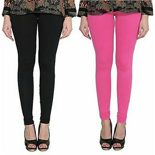 Alishah Cotton Lycra Premium Leggings For Women And Girl Black Hot Pink