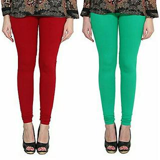 Alishah Cotton Lycra Premium Leggings For Women And Girl Blood Red Rama Green