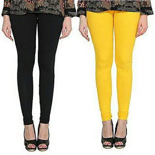 Alishah Cotton Lycra Premium Leggings For Women And Girl Black Hot Yellow