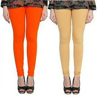 Alishah Cotton Lycra Premium Leggings For Women And Girl Dark Orange Gold Skin