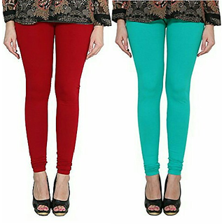 Alishah Cotton Lycra Premium Leggings For Women And Girl Blood Red Sea Green