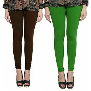 Alishah Cotton Lycra Premium Leggings For Women And Girl Brown Mirchi Green