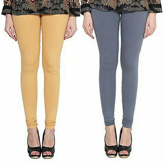 Alishah Cotton Lycra Premium Leggings For Women And Girl Gold Skin Grey