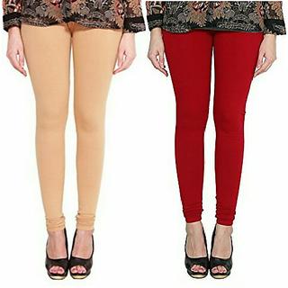 Alishah Cotton Lycra Premium Leggings For Women And Girl Bright Skin Blood Red