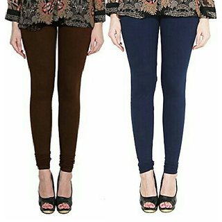 Alishah Cotton Lycra Premium Leggings For Women And Girl Brown Navy Blue