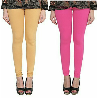 Alishah Cotton Lycra Premium Leggings For Women And Girl Gold Skin Hot Pink