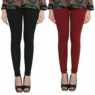 Alishah Cotton Lycra Premium Leggings For Women And Girl Black Maroon