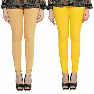 Alishah Cotton Lycra Premium Leggings For Women And Girl Gold Skin Hot Yellow