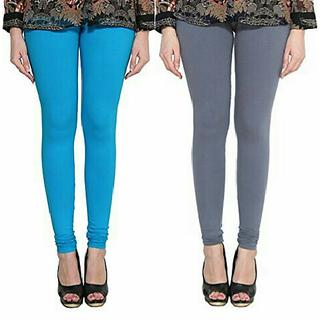Alishah Cotton Lycra Premium Leggings For Women And Girl Dark Sky Blue Grey