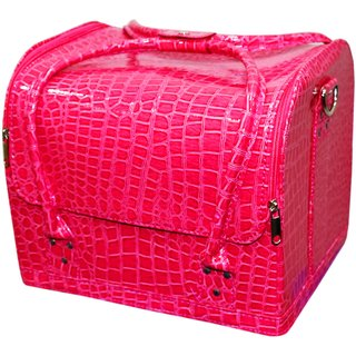 Pride Leather to store cosmetics Vanity Box (Pink)