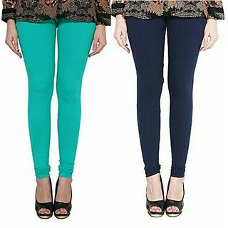 Alishah Cotton Lycra Premium Leggings For Women And Girl Sea Green Navy Blue