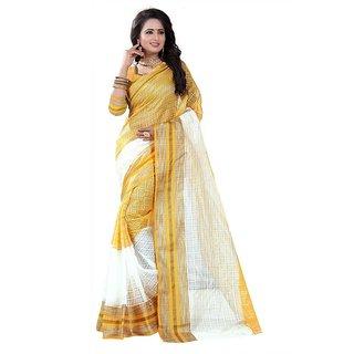 Rite Creation Mart Yellow Color Poly Cotton Printed Saree -BO327_S_YellowPC-274
