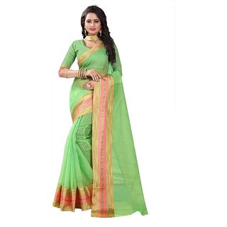 Rite Creation Mart Green Color Poly Cotton Printed Saree -BO329SGreenPC-276