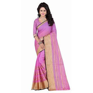 Rite Creation Mart Voilet Color Poly Cotton Printed Saree -BO279_S_VoiletPC-212