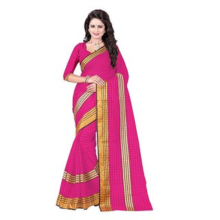Rite Creation Mart Pink Color Poly Cotton Printed Saree -BO303SPinkPC-241