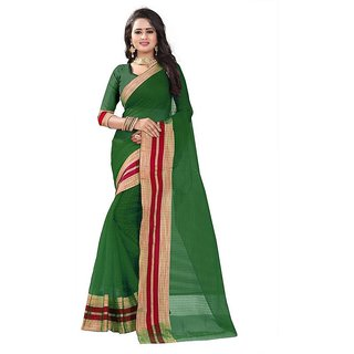 Rite Creation Mart Green Color Poly Cotton Printed Saree -BO332SGreenPC-279