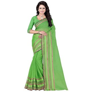 Rite Creation Mart Green Color Poly Cotton Printed Saree -BO304SGreenPC-242