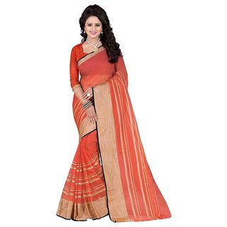 Rite Creation Mart Orange Color Poly Cotton Printed Saree -BO282SOrangePC-216