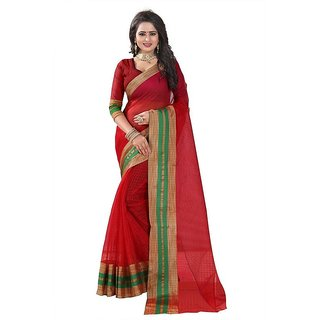 Rite Creation Mart Red Color Poly Cotton Printed Saree -BO333SRedPC-280