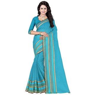 Rite Creation Mart Blue Color Poly Cotton Printed Saree -BO305SBluePC-243