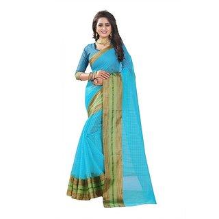 Rite Creation Mart Sky Blue Color Poly Cotton Printed Saree -BO334SSky BluePC-281