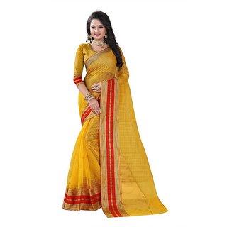 Rite Creation Mart Yellow Color Poly Cotton Printed Saree -BO335SYellowPC-282
