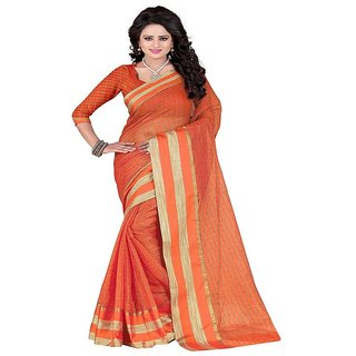 Rite Creation Mart orange Color Poly Cotton Printed Saree -BO285_S_orangePC-219