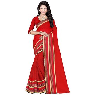 Rite Creation Mart Red Color Poly Cotton Printed Saree -BO307_S_RedPC-245