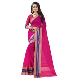 Rite Creation Mart Pink Color Poly Cotton Printed Saree -BO336_S_PinkPC-283