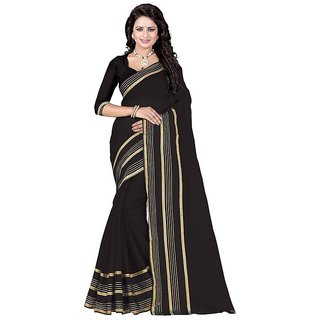 Rite Creation Mart Black Color Poly Cotton Printed Saree -BO308_S_BlackPC-246
