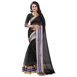 Rite Creation Mart Black Color Poly Cotton Printed Saree -BO337_S_BlackPC-284