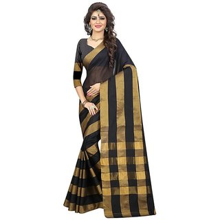B Online Mart Black Color Cotton Printed Saree -BO107_S_Black1