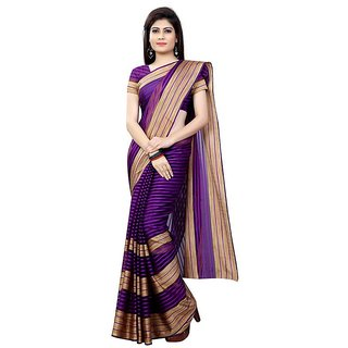 B Online Mart Purple Color Poly Cotton Printed Saree -BO77_S_Purple