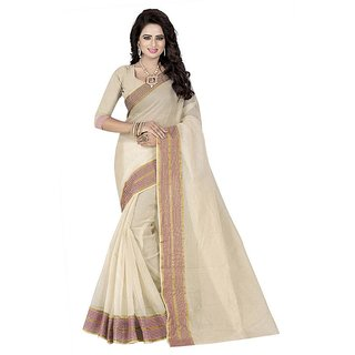 Rite Creation Mart White Color Poly Cotton Printed Saree -BO310SWhitePC-248