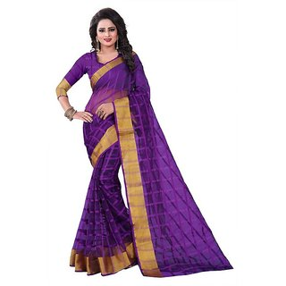 Rite Creation Mart Purple Color Poly Cotton Printed Saree -BO339_S_PurplePC-286