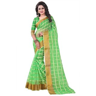 Rite Creation Mart Parrot Green Color Poly Cotton Printed Saree -BO340_S_Parrot GreenPC-287