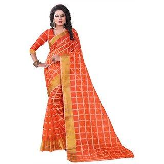 Rite Creation Mart Orange Color Poly Cotton Printed Saree -BO341_S_OrangePC-288