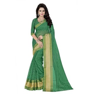 Rite Creation Mart Green Color Poly Cotton Printed Saree -BO313SGreenPC-251