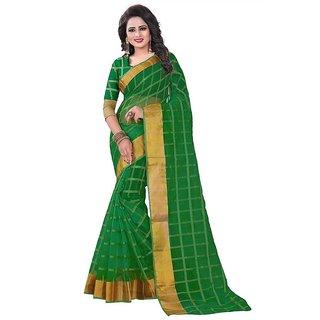 Rite Creation Mart Dark Green Color Poly Cotton Printed Saree -BO342SDark GreenPC-289